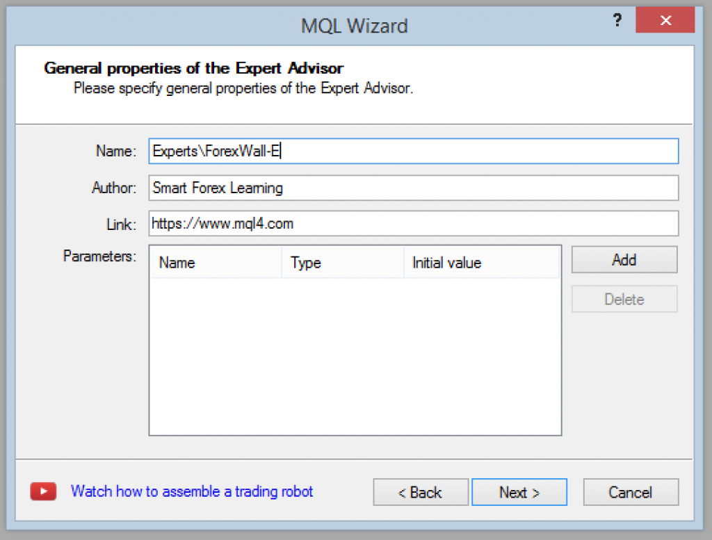MQL Wizard - step 2